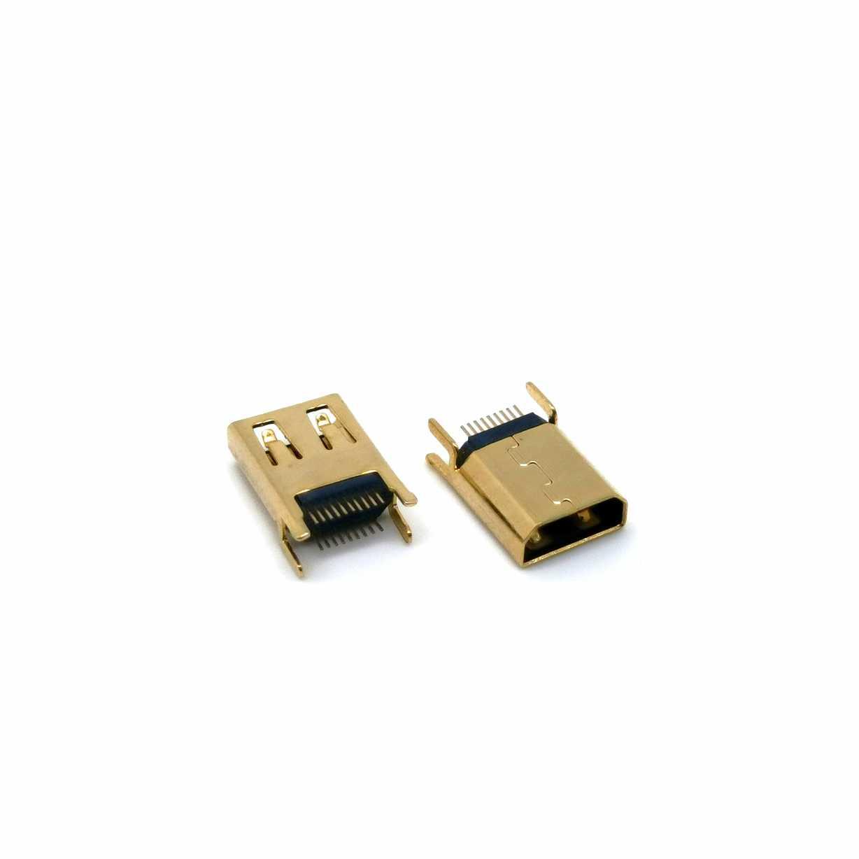 HDMI 19P立插夹板母座  D型口夹板1.6母座  四脚