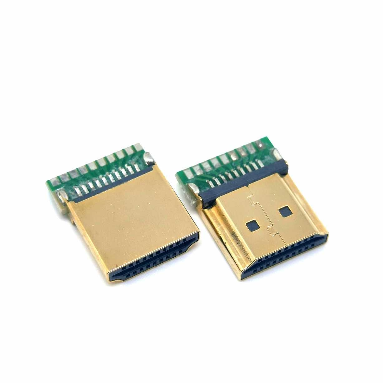 HDMI 19P夹板公头 带PCB板HDMI夹板公头 镀金铁